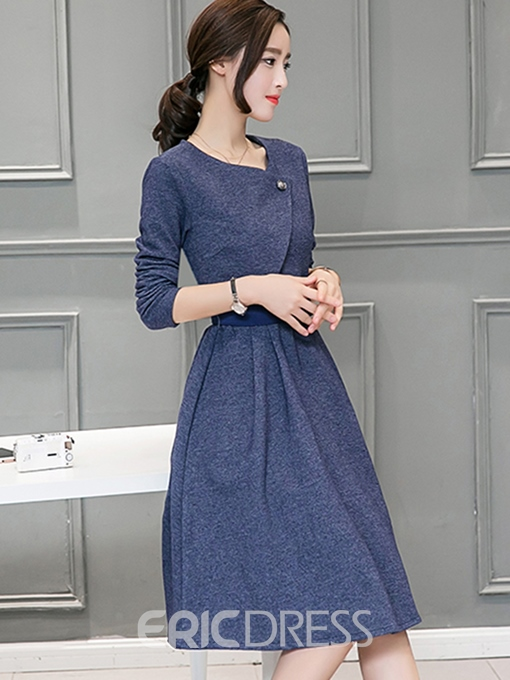 Ericdress Long Sleeve Belt A-Line Casual Dress