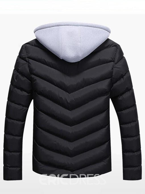 Ericdress Patchwork Hooded Zipper Pocket Casual Warm Men's Winter Coat