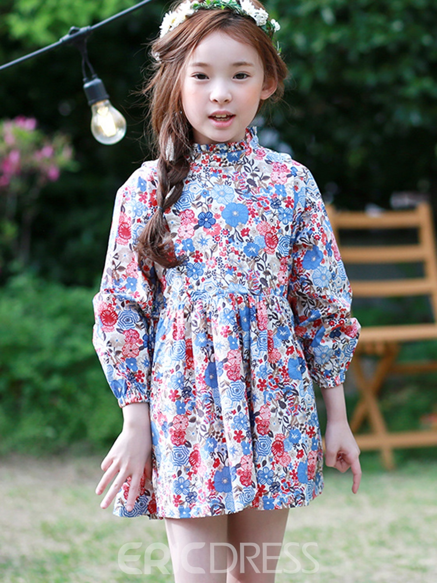 Ericdress Floral Print Stand Collar Girls Dress