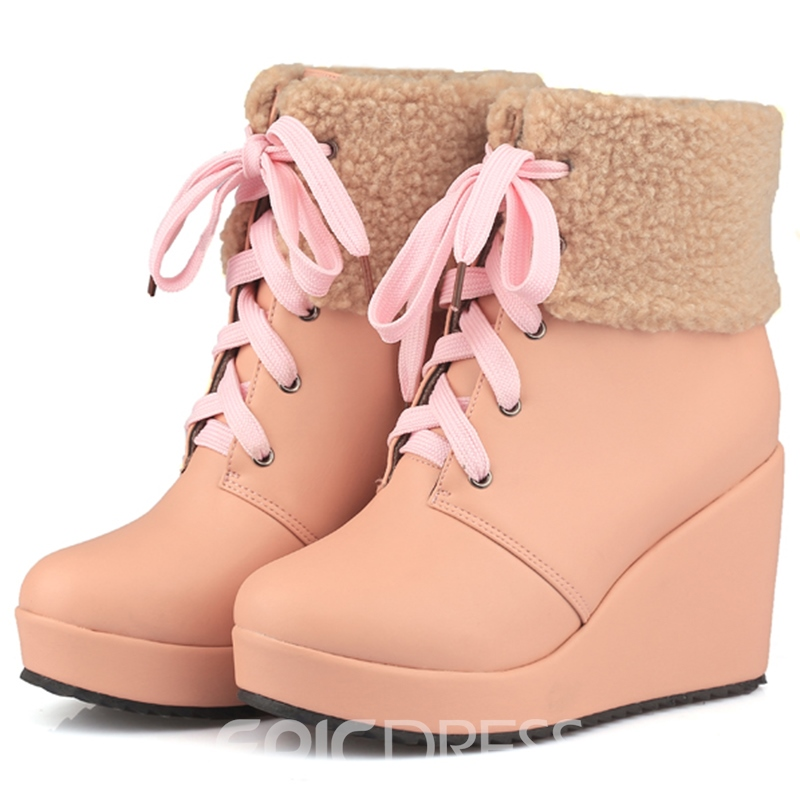 Ericdress Pretty Short Floss Lace up Wedge Heel Ankle Boots