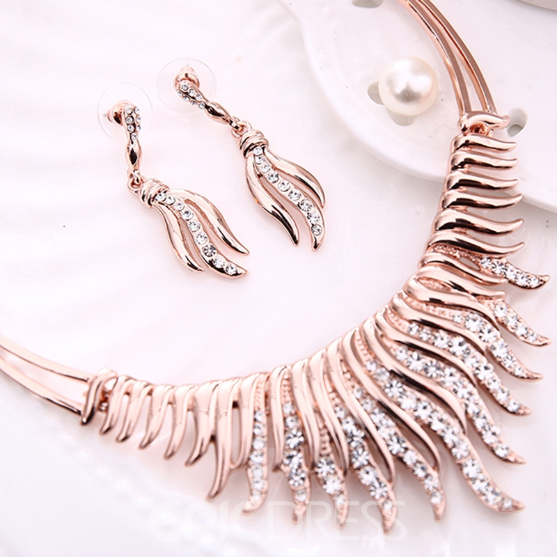 Ericdress Rose Gold Diamante Jewelry Set