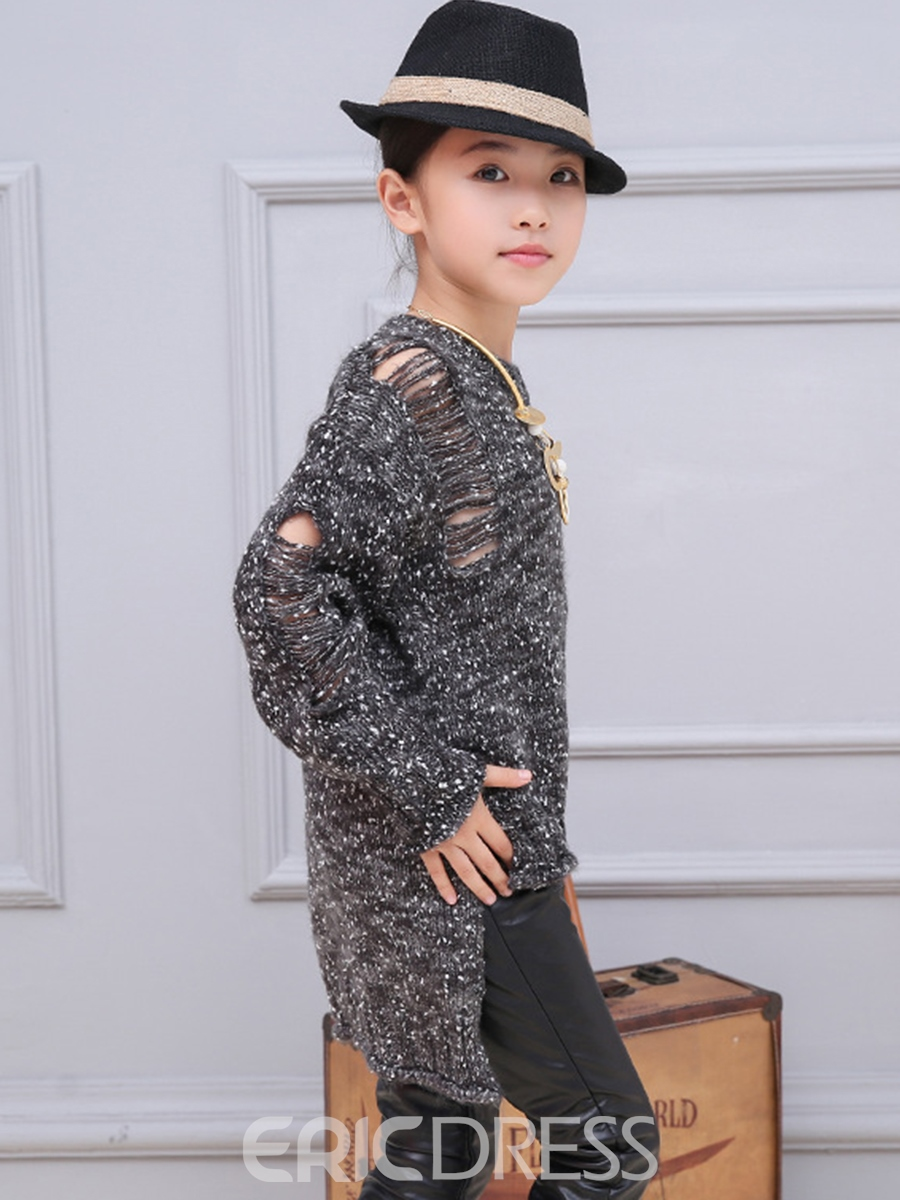 Ericdress Knitting Ripped Before Long and Short Styles Girls Top
