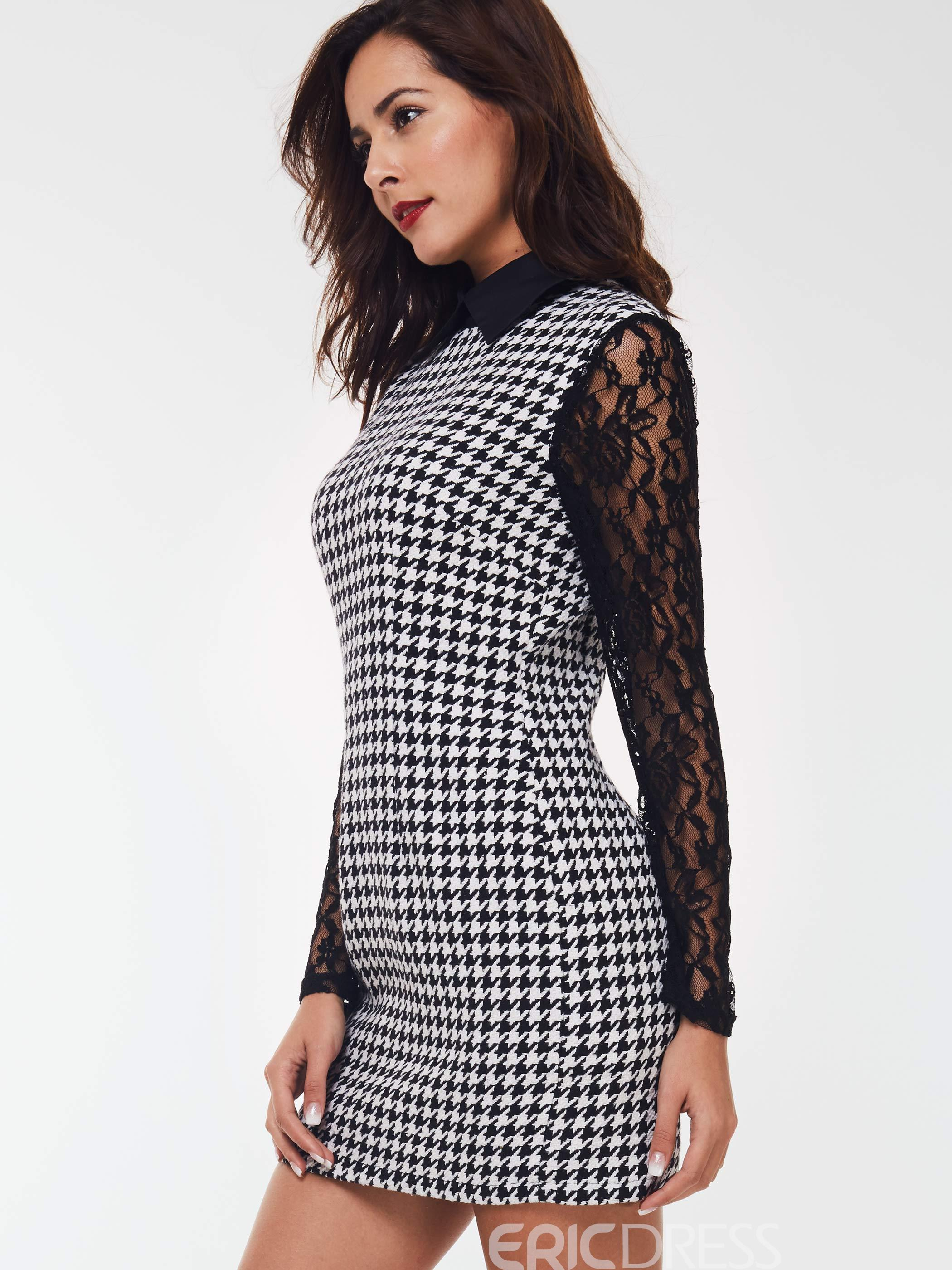 Ericdress Lapel Lace Patchwork Houndstooth A-Line Dress