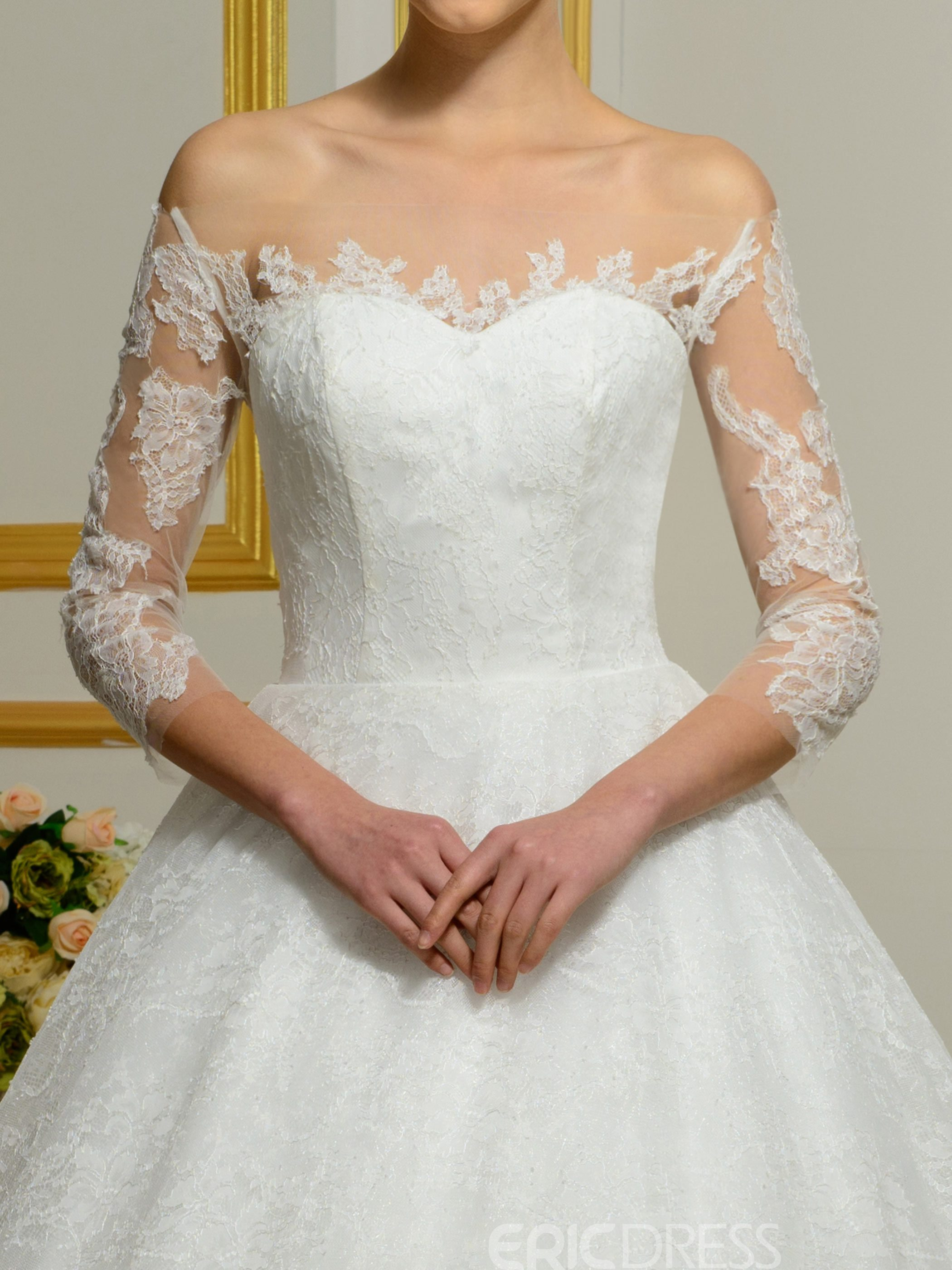 Ericdress Elegant Off The Shoulder Lace Wedding Dress With Sleeves