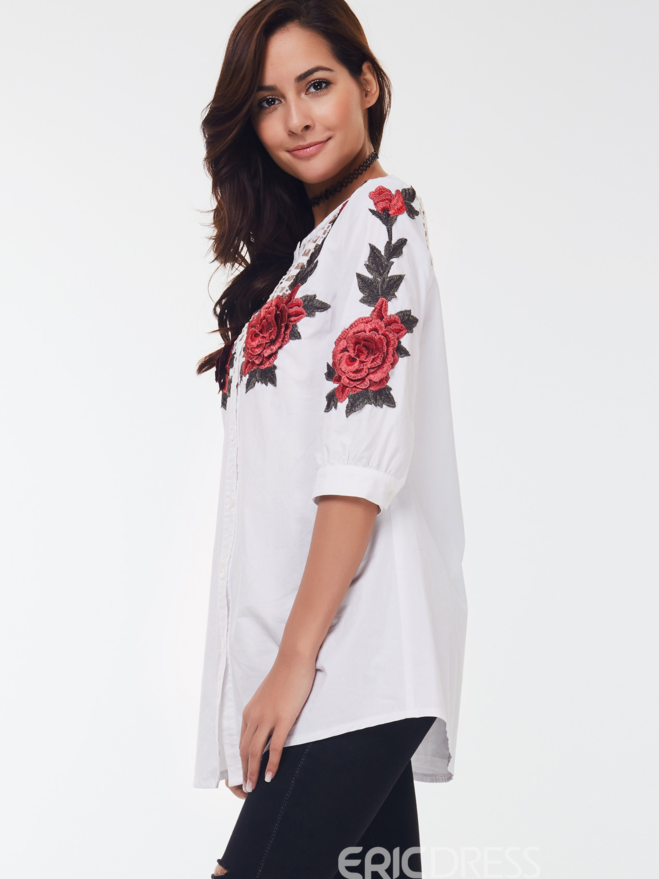 Ericdress Floral hohl bedruckte Bluse