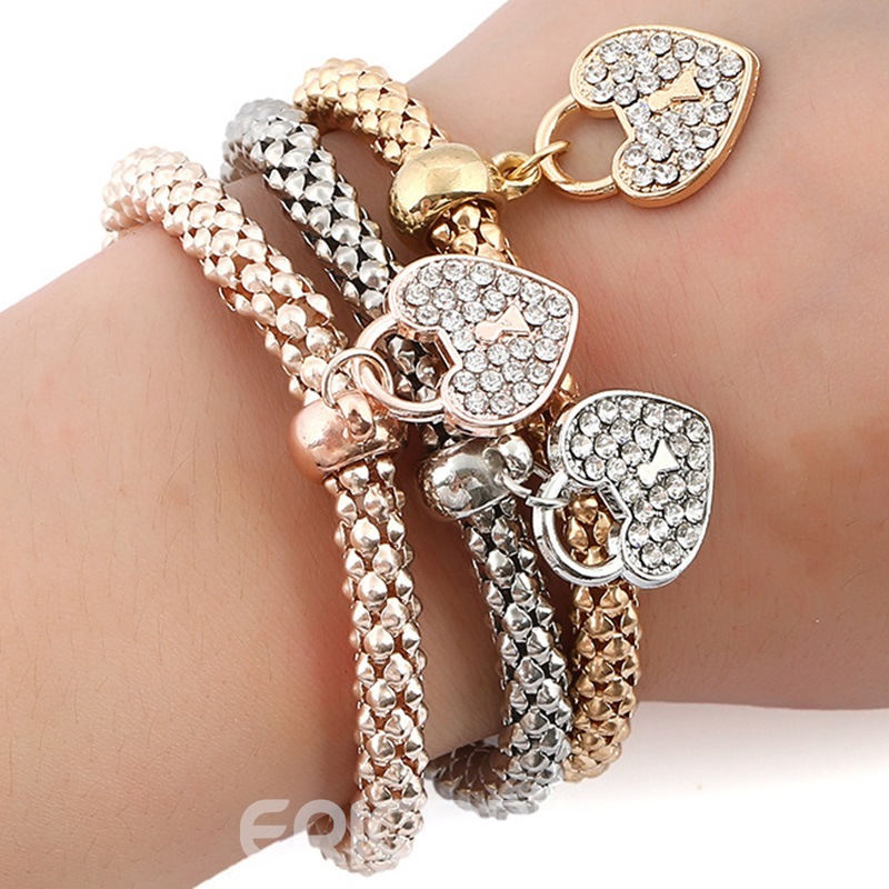 Ericdress Heart Shaped Pendant Alloy Bracelet