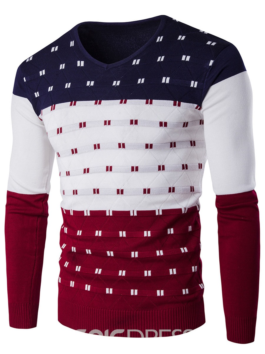 Ericdress Color Block Unique V-Neck Slim Men's Sweater