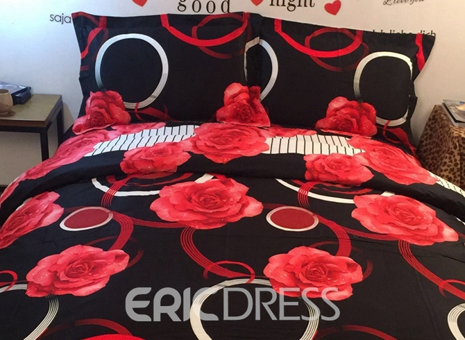 Vivilinen 3D Red Rose and Circle Printed Cotton 4-Piece Black Bedding Sets/Duvet Covers