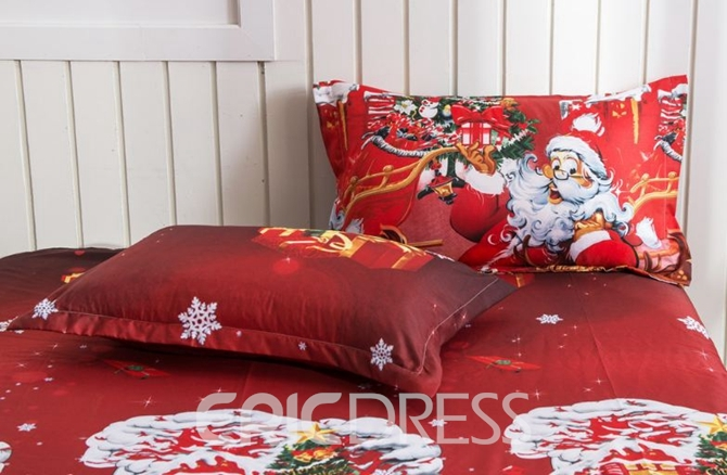 Vivilinen Santa Claus and Reindeer Print 4-Piece Polyester Duvet Cover Sets