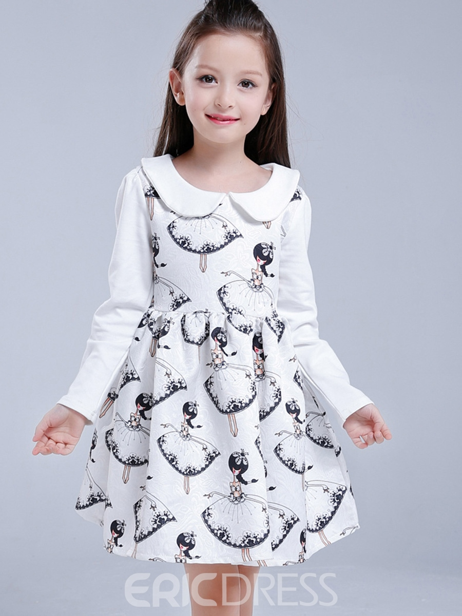 Ericdress Doll Collar Print Patchwork Girls Dress