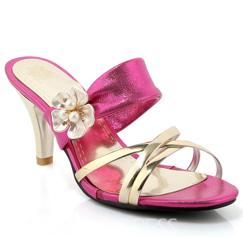 Ericdress Bright Flower Decorated Mules Shoes