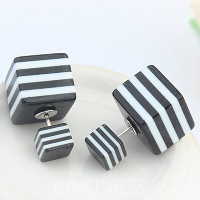 Ericdress Striped Square Block Stud Earrings