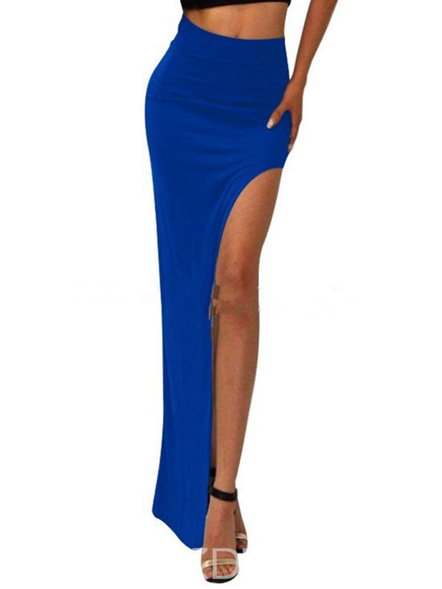 Color sólido Ericdress Split falda Maxi