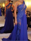 Ericdress A-Line One-Shoulder Court Train Evening Dress With Appliques And Beadings