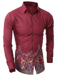 Ericdress Vintage Print Long Sleeve Mens Shirt