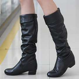 Ericdress Simple PU talon carré Knee High Boots