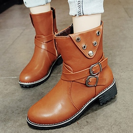 Ericdress Cool PU Buckles Square Heel Ankle Boots