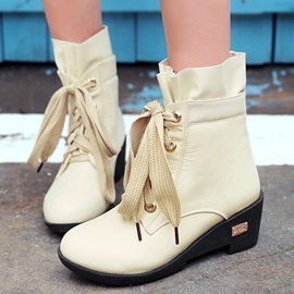 Ericdress Lovely Lace up Low Heel Ankle Boots