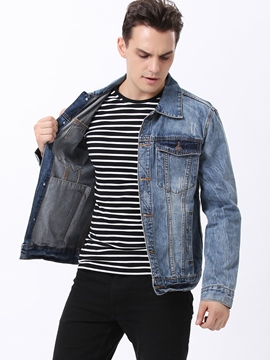 Ericdress Denim Casual Single-Breasted Men's Jacket