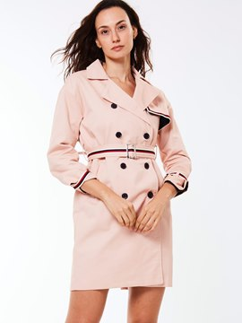 Ericdress Slim Stripped Patchwork Trench Coat