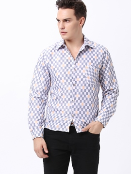 Ericdress Color Block Plaid Vogue Men's Shirt