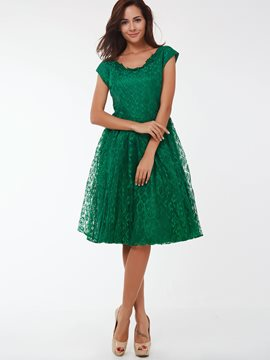 Ericdress Solid Color Vintage Lace Dress