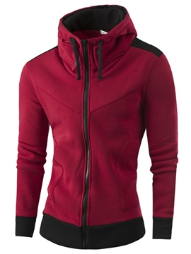 Ericdress Hooded Slim Zipper Casual Men's Hoodie