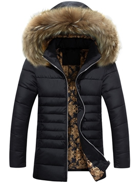 Ericdress Mid-Length Faux Fur Collar Vogue Men's Down Coat