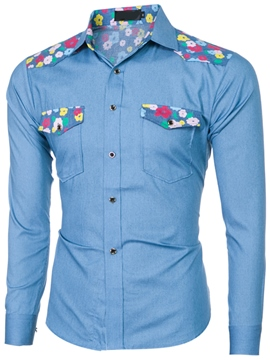 Ericdress Pocket Floral Casual Denim Men's Shirt