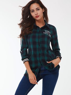 Ericdress Loose Plaid Letters Jacket