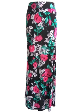 Ericdress Floral Print Bodycon Maxi Skirt