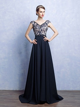 Ericdress A-Line V-Neck Cap Sleeves Beading Bowknot Lace Court Train Evening Dress