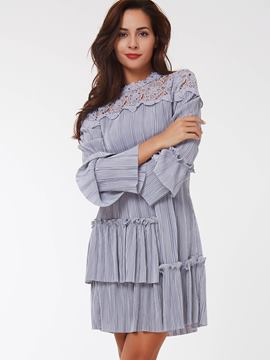 Ericdress Lace Hollow Patchwork Pleated Casual Dress