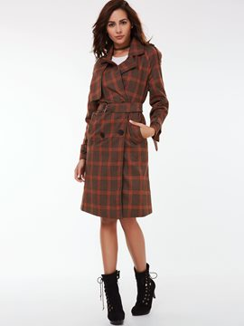 Ericdress European Slim Plaid Trench Coat