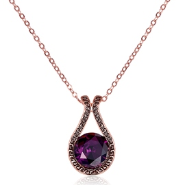 Ericdress Charming Round Cut Amethyst Pendant Women's Necklace