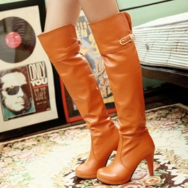 Ericdress Chic PU Platform Thigh High Boots