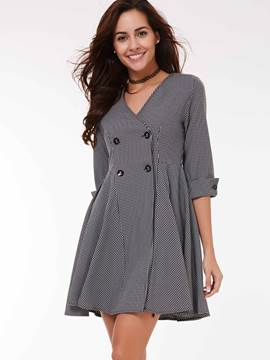 Ericdress Slim Plaid Wave Cut Trench Coat