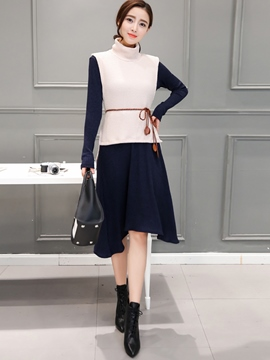 Ericdress Ladylike Knitted Dress Leisure Suit
