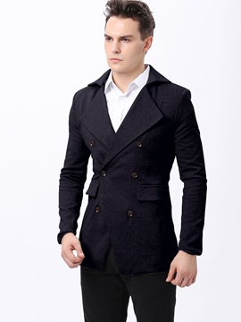 Ericdress Slim Double-Breasted Men's Trench Coat
