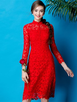 Ericdress Vintage High Collar Long Sleeve Lace Short Cocktail Party Dress