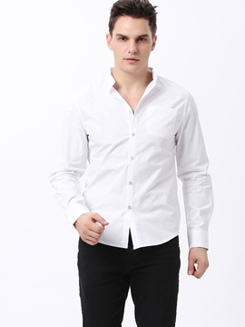 Ericdress White Unique Stand Collar Men's Shirt