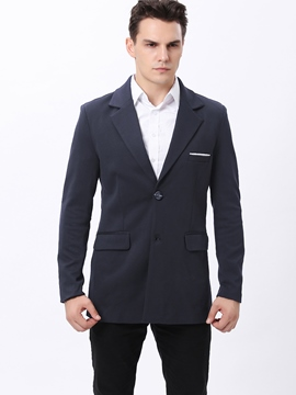 Ericdress Single-Breasted Solid Color Slim Men's Overcoat