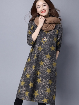 Ericdress Star Print A-Line Casual Dress