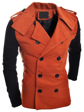 Ericdress Color Block Lapel Double-Breasted Slim Men's Trench Coat