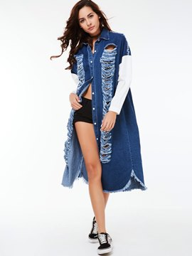 Ericdress Loose Ripped Denim Outerwear