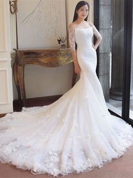 Ericdress Off-the-Shoulder Appliques Mermaid Wedding Dress