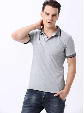Ericdress Gray Short Sleeve Pullover Men's T-Shirt