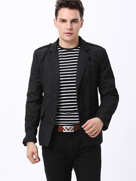 Lapel Single-Breasted Long Sleeve Jacket