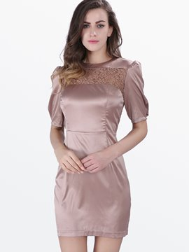 Ericdress Lace Patchwork Back Zipper Bodycon Dress