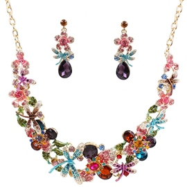 Ericdress All-Matched Flower Diamante Jewelry Set